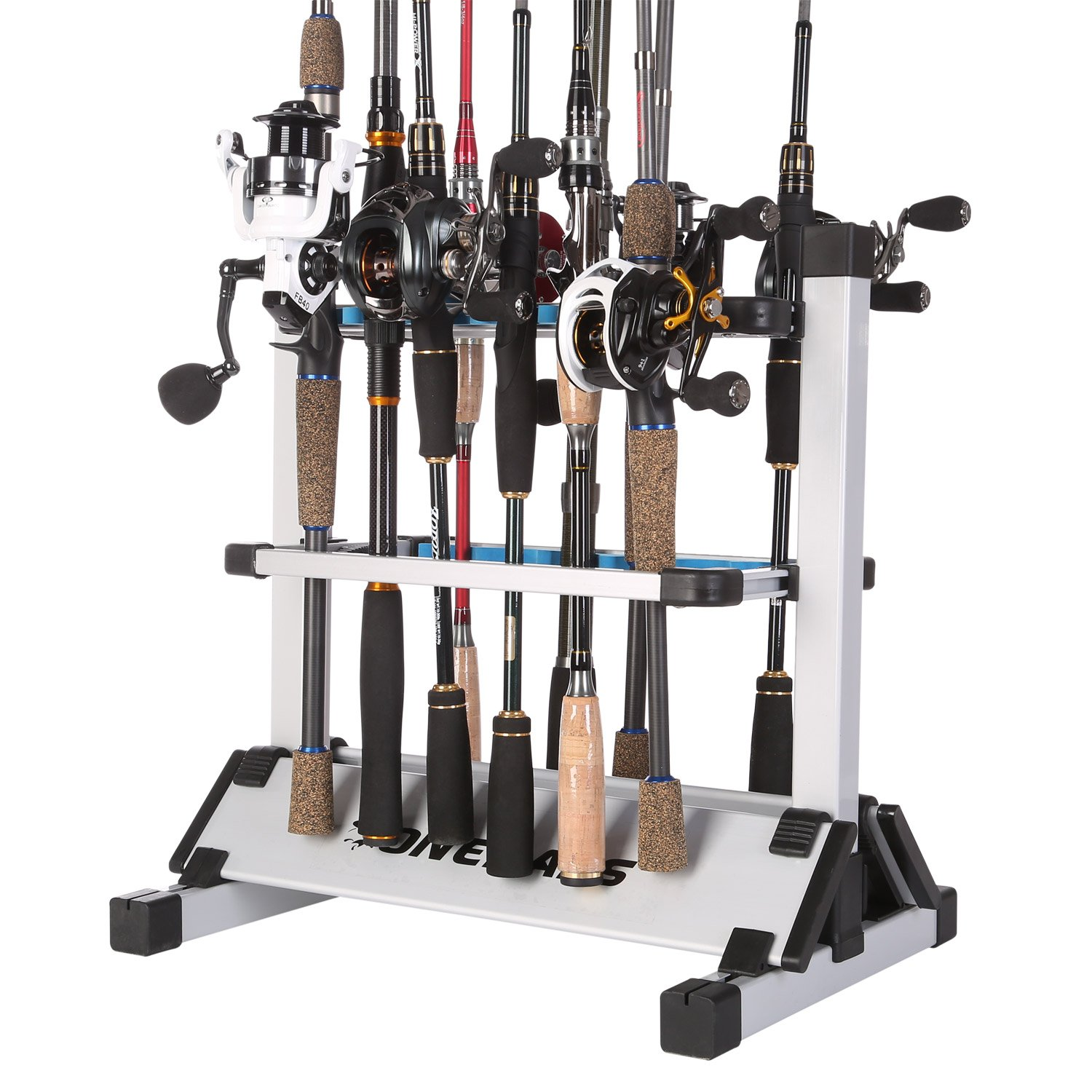 One Bass Fishing Rod Rack Metal Aluminum Alloy Fishing Rod Holder Portable Rod Organizer for All Type Fishing Pole, Hold Up to 12 Rods