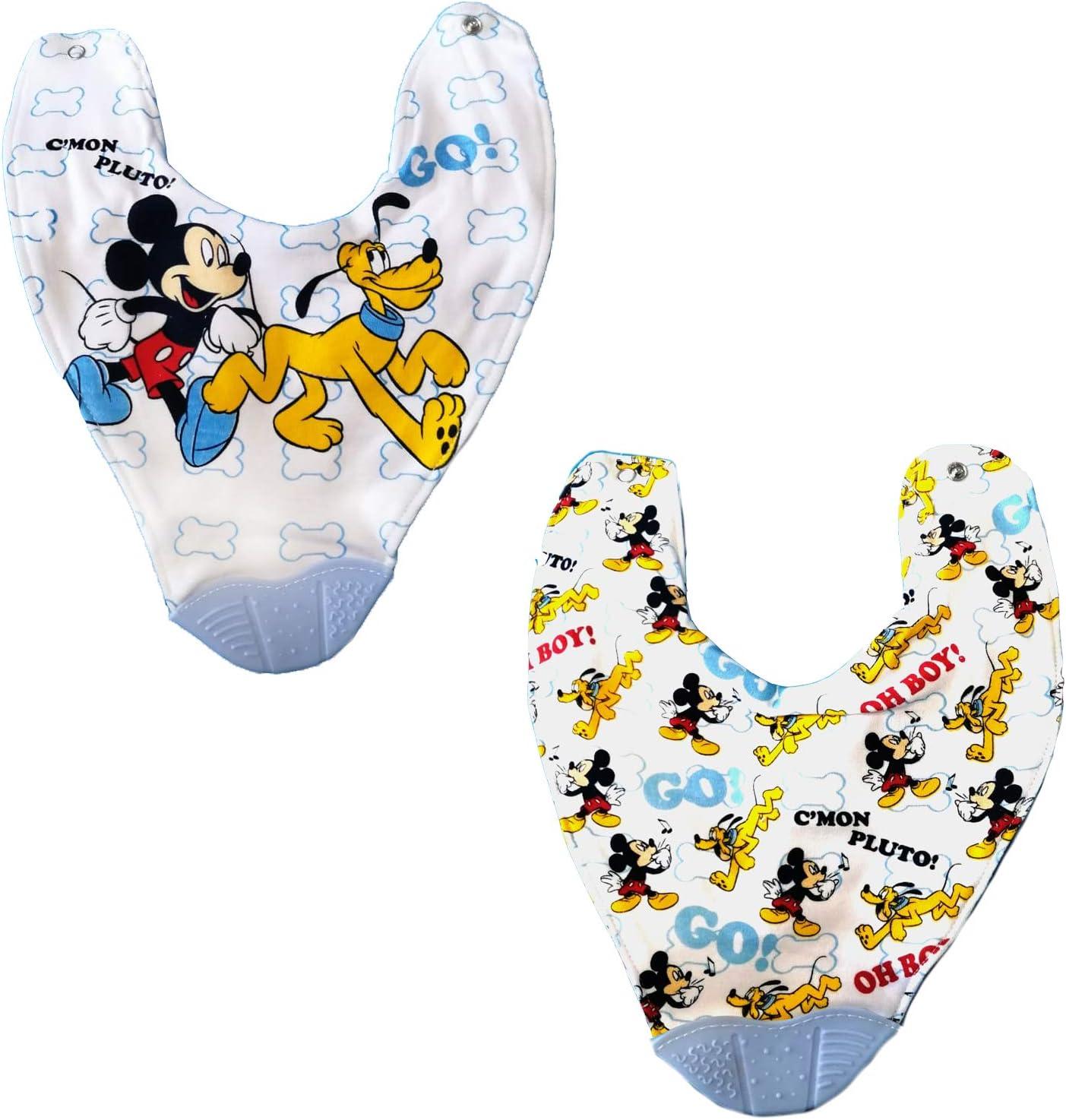Set of 2 Bandana Bibs with Teething Accessory Minnie and Mickey Disney Mickey 9610