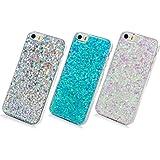 3 Unidades Funda Silicona iPhone 5/SE, Cascara Ultrafina Suave Cover Protectora Brillante , Anti-Rasguño y Resistente Huellas (Plata + Azul + Violeta)