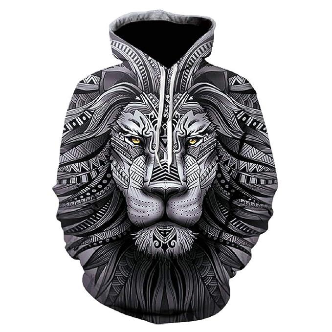 Hombres Sudadera con Capucha Funny 3D Tiger Lion Plus Size S - 5XL ...
