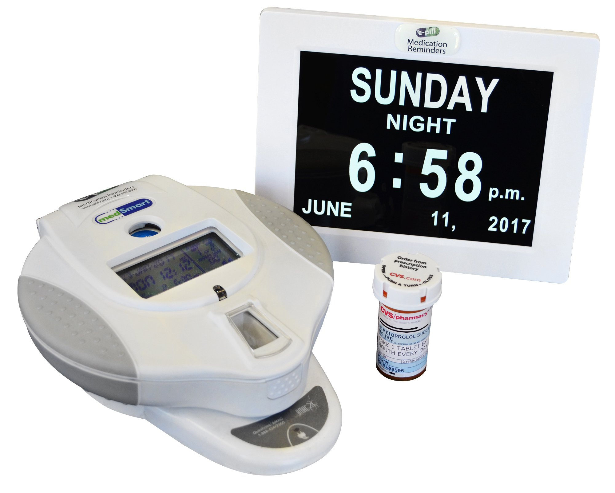 e-pill MedSmart Automatic Medication Dispenser with Calendar Day Clock by e-pill Medication Reminders