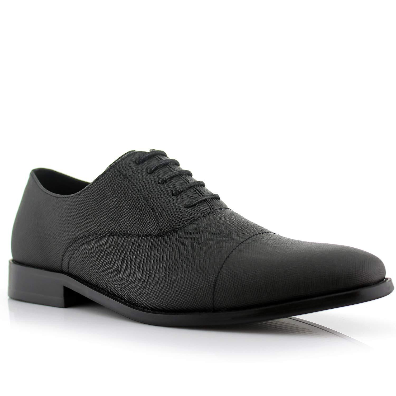 73ff31faae6 Ferro Aldo Garrett MFA19623L Men s Classic Memory Foam Vegan Leather  Lace-Up Cap Toe Perforated Oxford Formal Dress Shoes