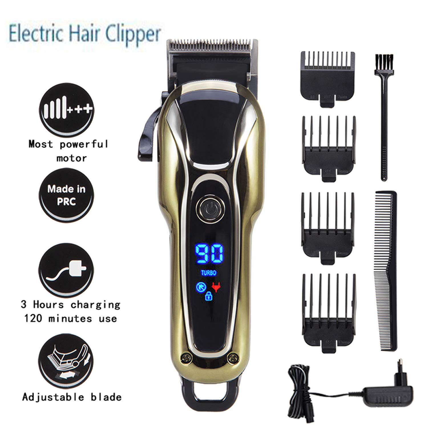 Professional 5-Star Rechargeable Hair Cipper Electric Shaving Machine Razor Barber Cutting Beard Trimmer Haircut Set Cordless (Gold)