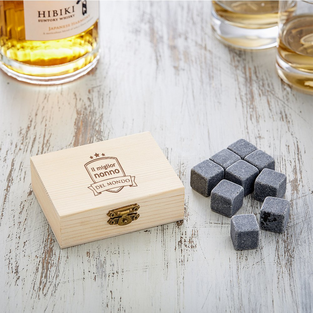 9 Pietre Insapori per Raffreddamento del Whisky Riutilizzabili Blasone Regalo per Il Nonno Incisione Il Miglior Nonno AMAVEL Pietre da Whisky in Elegante Scatola in Legno