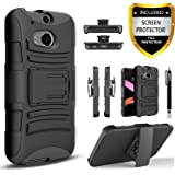 HTC One M8 Case, Combo Shell Cover Kickstand with Built-in Holster Locking Belt Clip+Circle(TM)Touch Screen Pen And Screen Protector-Black