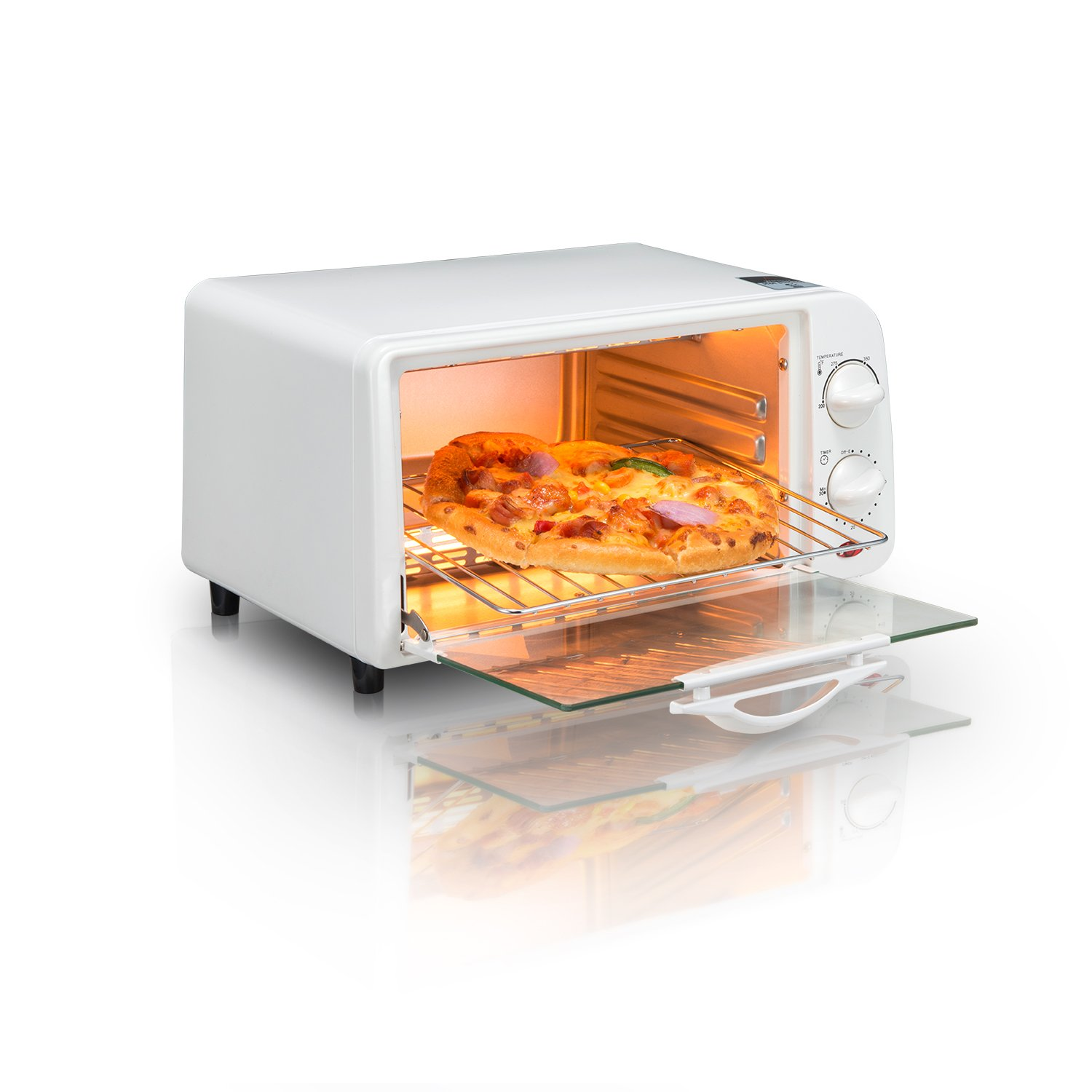 4-slice Toaster Oven Kangzilang Countertop Toaster Oven with Temperature Control Includes Bake Pan、 Bake Rack and Toaster Oven Cookbook (White)