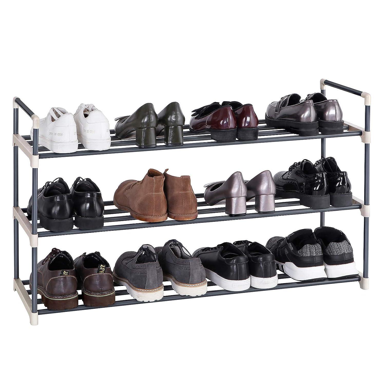 SONGMICS Schuhregal Schuhst/änder mit 3 Ablagen f/ür bis zu 15 Schuhe Grau 92 x 54 x 30 cm B x H x T LSA13G