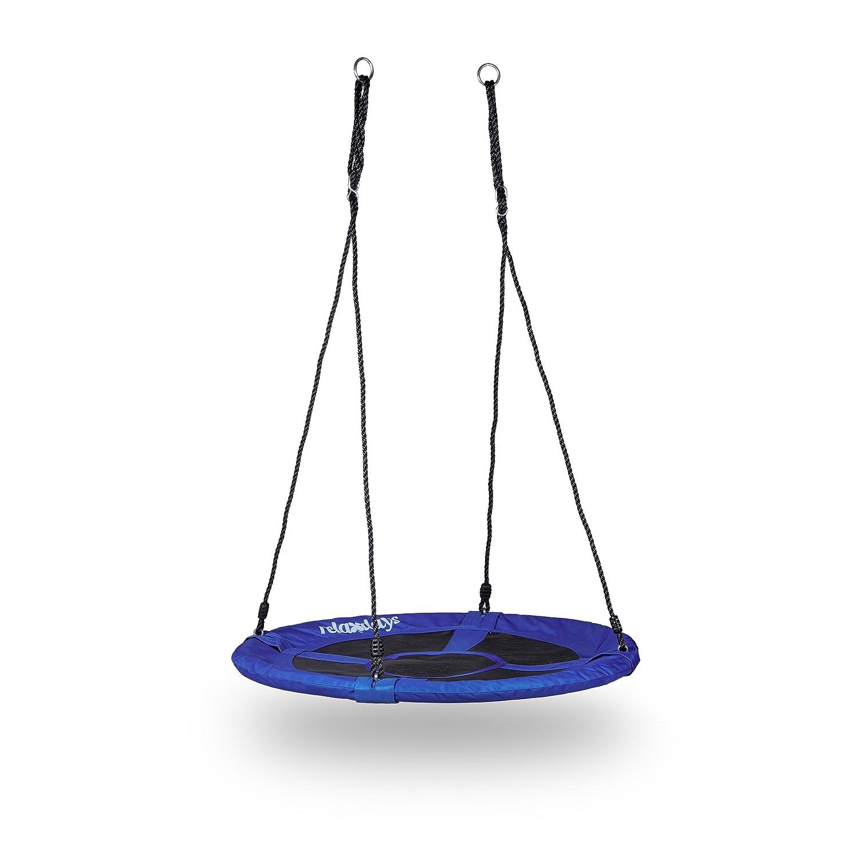 153 x 90 x 90 cm Relaxdays Balan/çoire nid doiseau rond pour le jardin avec assise charge max 100 kg ext/érieur HxlxP bleu fonc/é