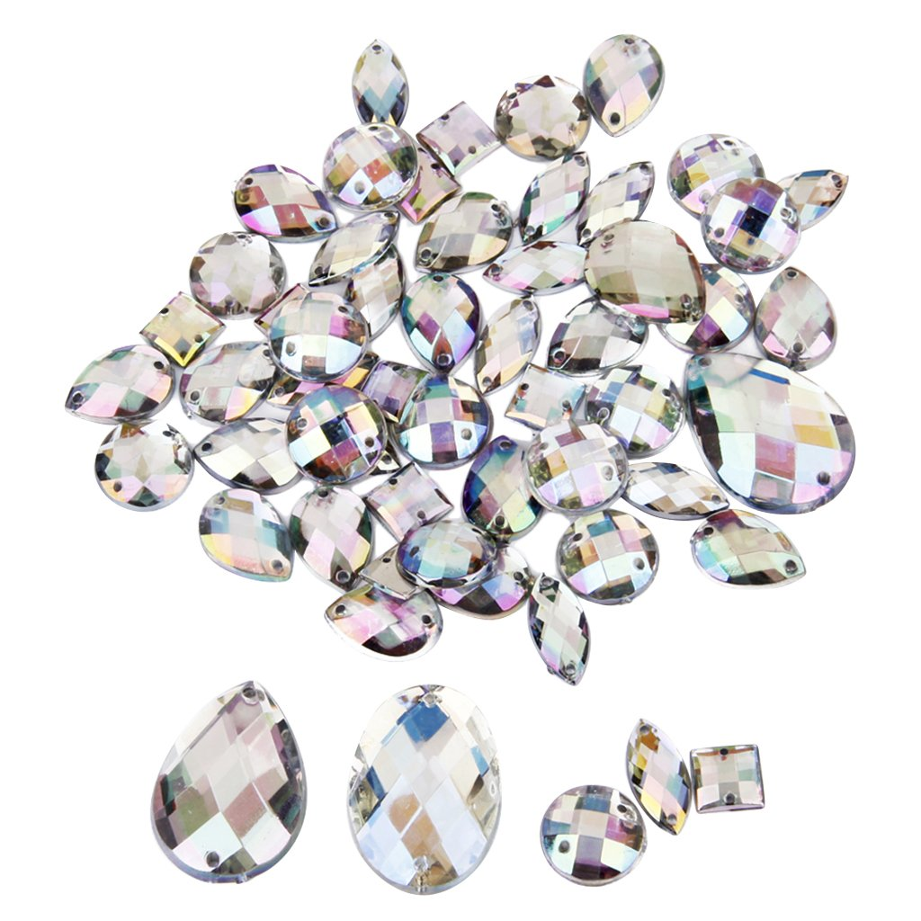 Rhinestone Flat Back Buttons Sew on Embellishments for Craft Pack of Approx.50pcs Assorted Shape Generic