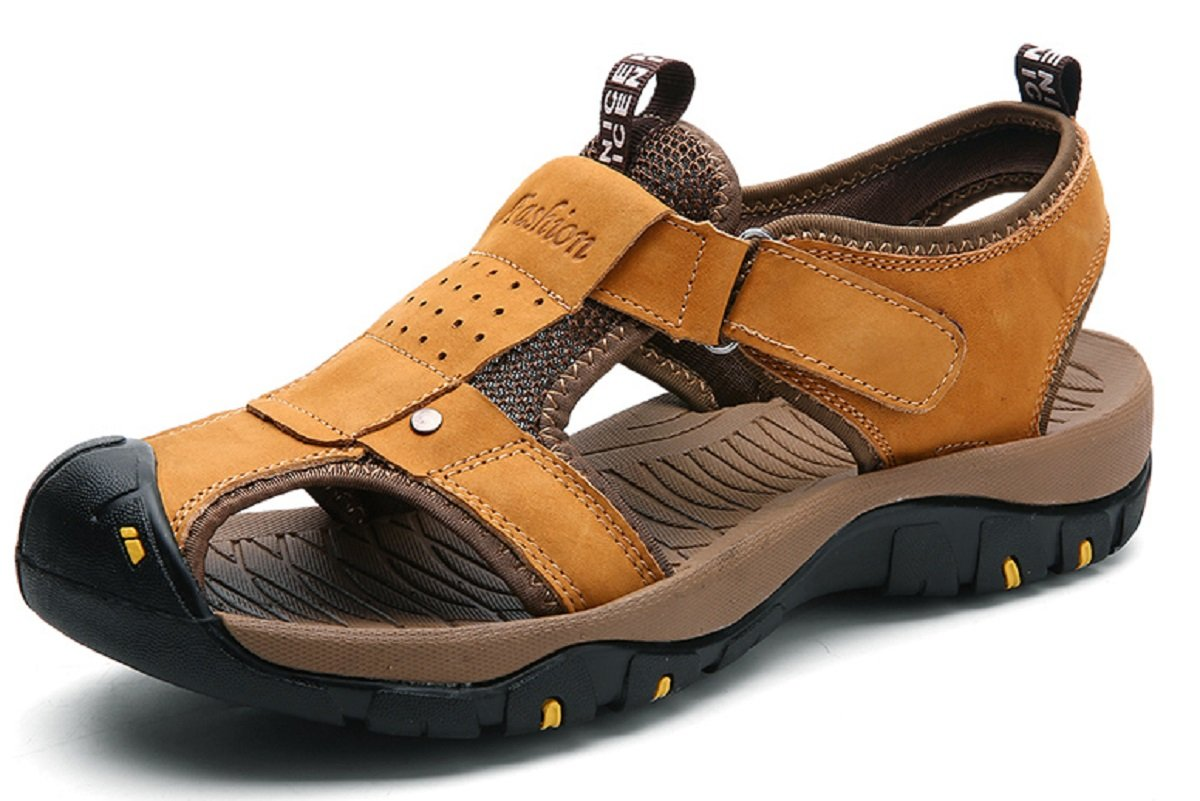 Beeagle Mens Fisherman Beach Athletics Walking Hiking Sandals Sports Sandals Summer Leather Outdoor Light Brown 45