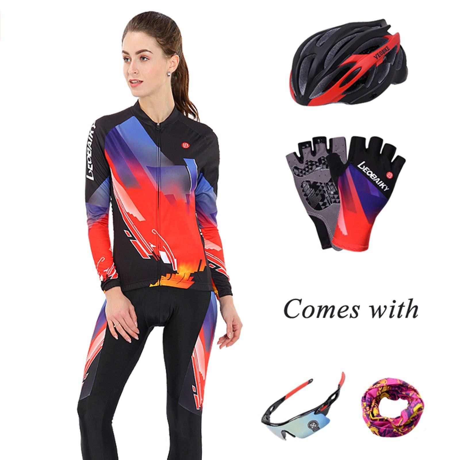 Aooaz Women's Biking Clothing Set Shirt Leggings with Helmet/Gloves/Goggles/Mask Black S