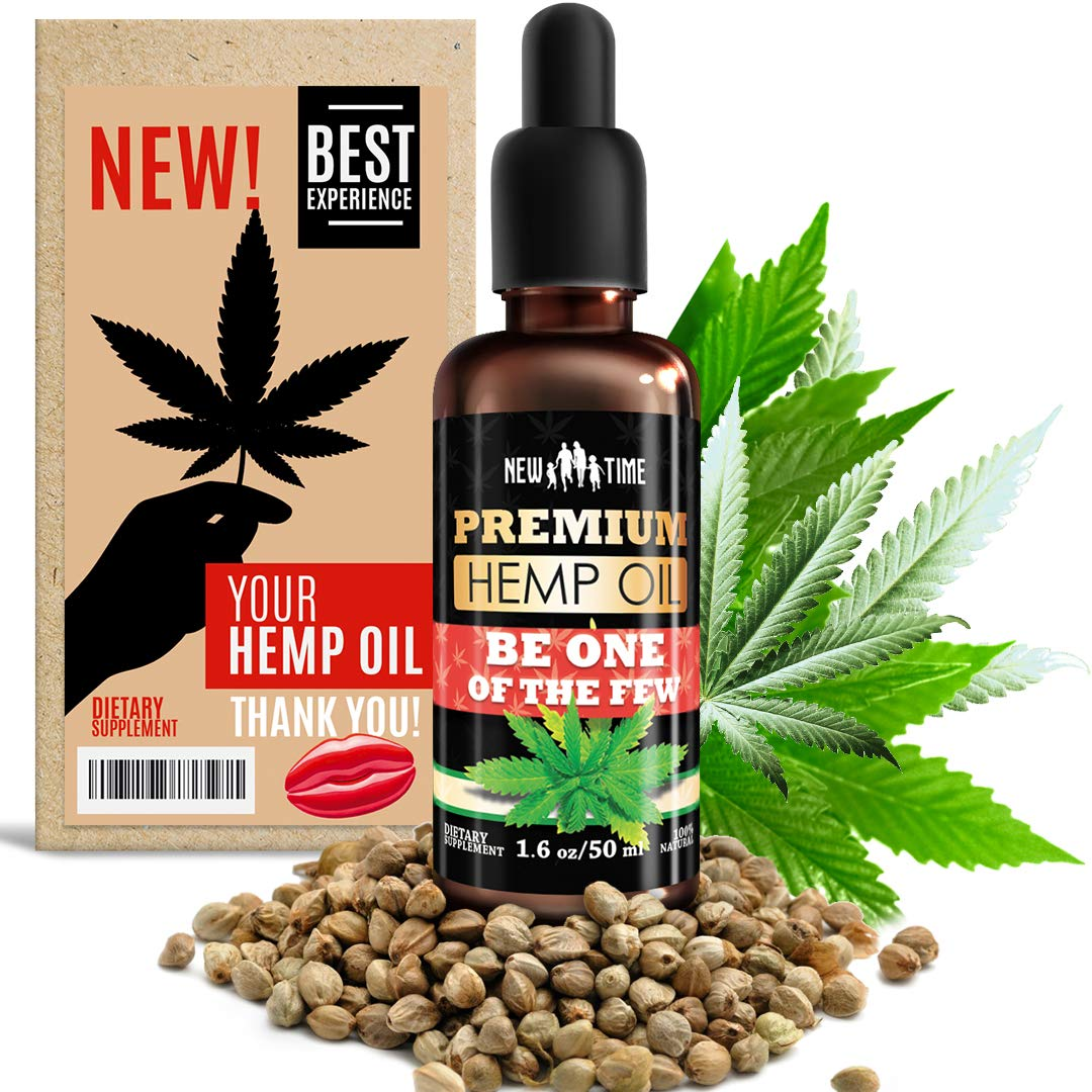 Your Hemp Oil Drops - Rich in Omega 3, 6, 9 - Organic Hemp Extract for Pain Relief, Heart Health, Skin, Reduces Stress, Improved Quality of Hairs and Nails - in Free Access by New Time