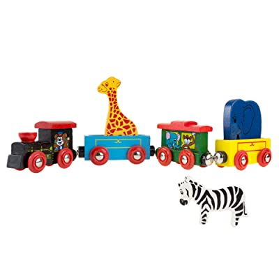 Magnetic Train Toy Wooden Animal Learning Train Set with 4 Trains 3 Wooden Animals for Boys and Girls Toddlers by Hey! Play!: Toys & Games