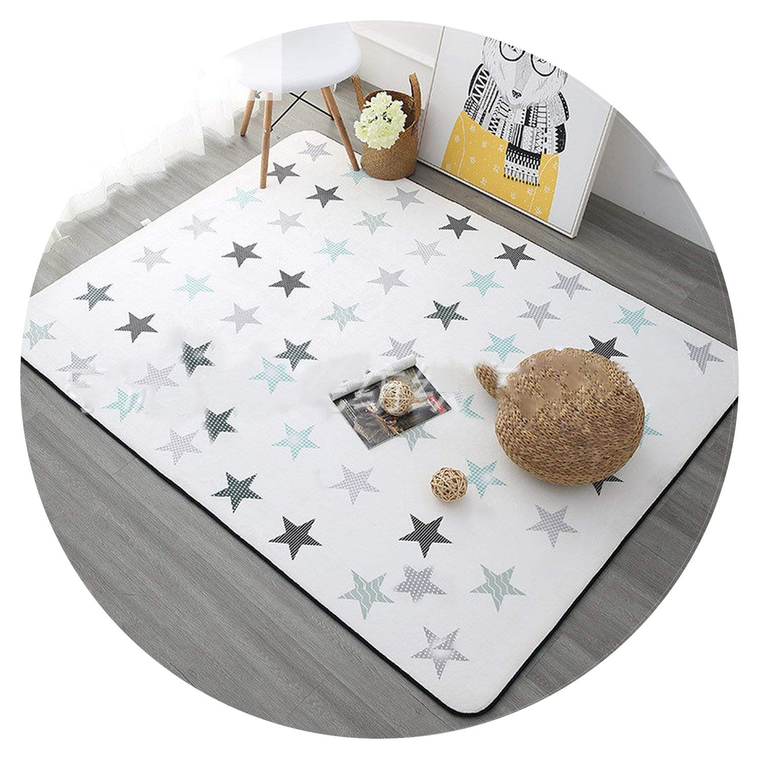 Star Printed Carpet Anti-Slip Floor Rug Bath Mat Soft Baby Playing Carpets for Living Room Indoor Bedroom 100 * 150cm,A,100X150CM