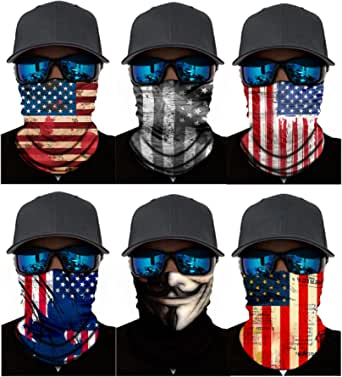 America Flag Neck Gaiter Face Mask Bandanas Scarf UV Dust Protection Motorcycle Headband Balaclava for Women Men(6 Pack)