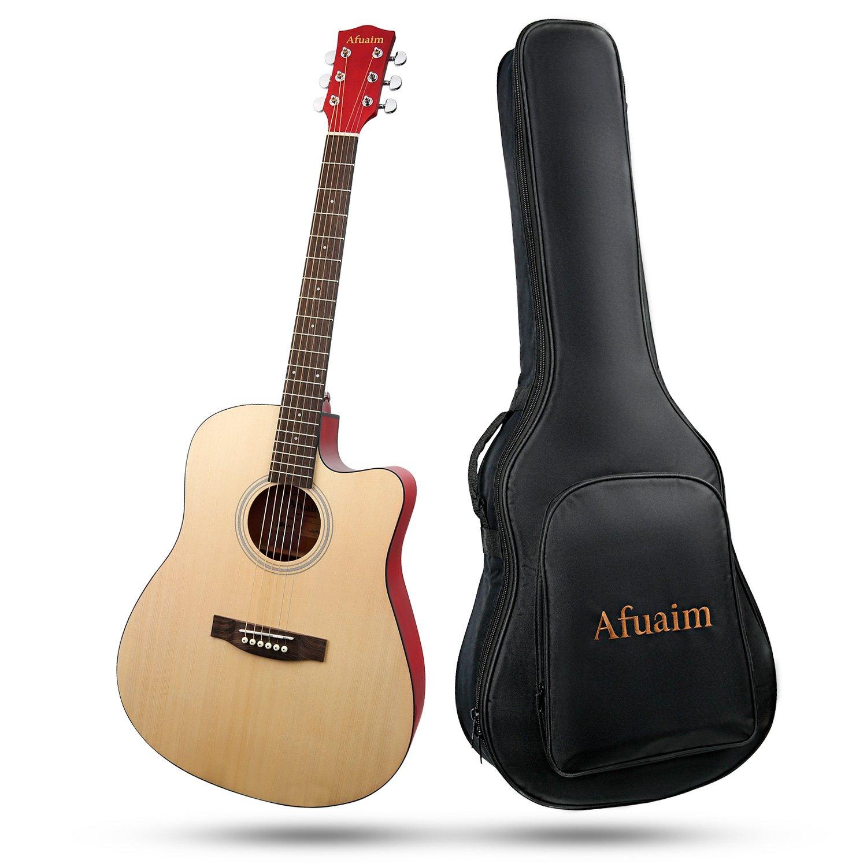 Gitarre Afuaim Akustikgitarre 41 Zoll Fichte Gitarrensaite Stahl Guitar Pack mit Gig Bag, Ersatzsaiten, Poliertuch (Cutaway, Natur)
