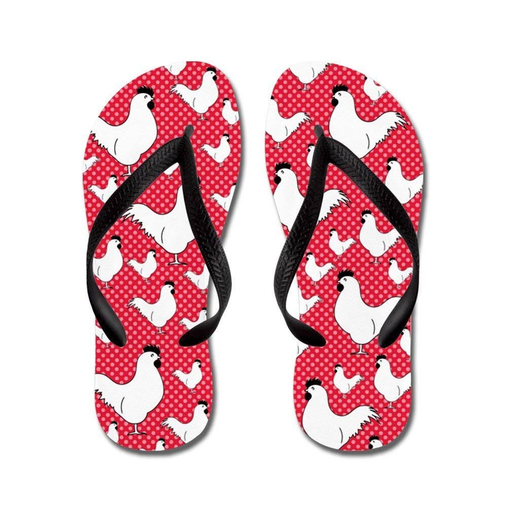 Difflamply Polka Dot Chickens - Flip Flops, Funny Thong Sandals, Beach Sandals