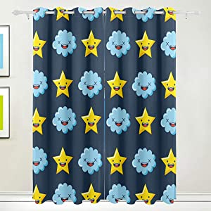 Window Blackout Curtains for Bedroom - Cloud Star Thermal Insulated Curtain Draperies Window Panel for tag2, 72 x 55 Inch, 2 Panels
