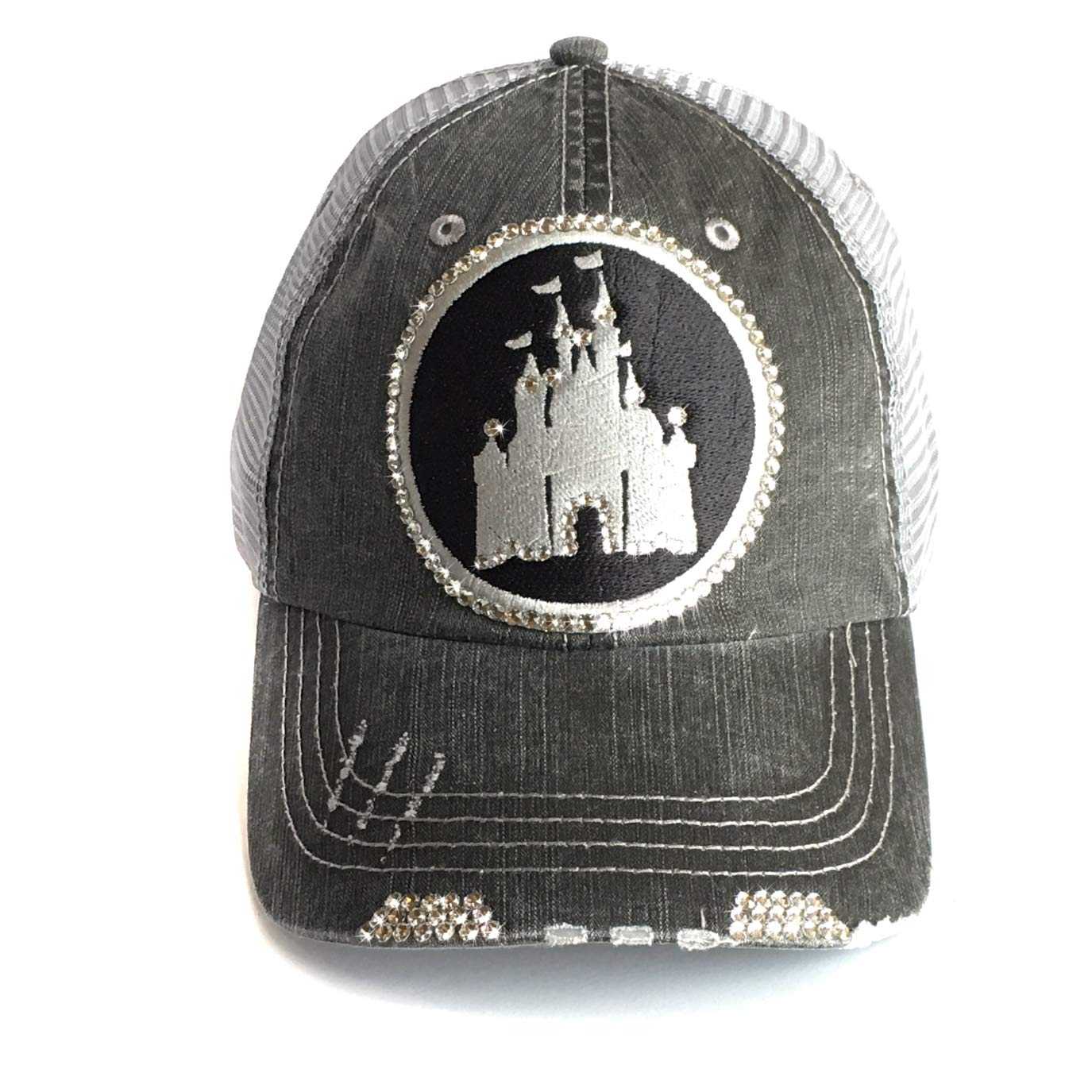 Disney High Ponytail Hat Bedazzled Mesh Baseball Cap Swarovski Crystal Bling Gray by Elivata (Image #1)