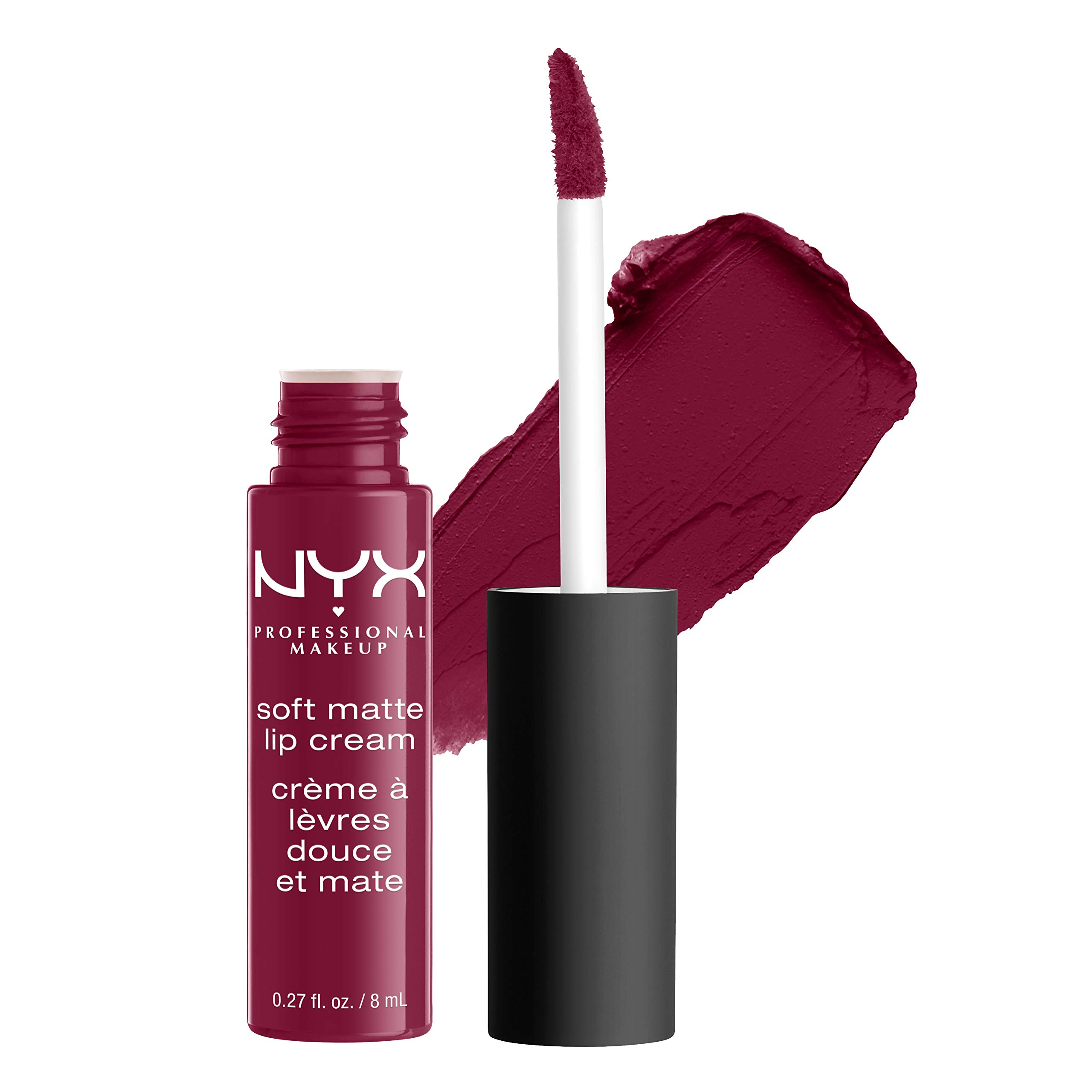 NYX PROFESSIONAL MAKEUP Soft Matte Lip Cream, High-Pigmented Cream Lipstick - Copenhagen, Matte Rich Plum