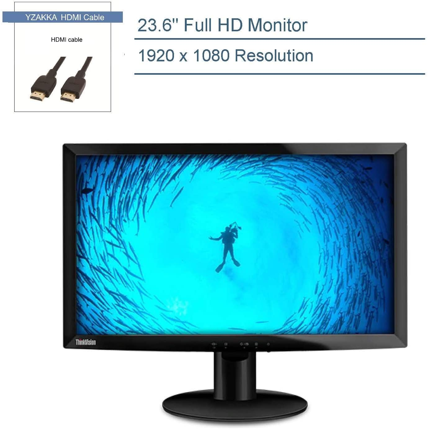 "2020 Lenovo 23.6"" LED Backlit LCD Monitor, FHD 1920x 1080 Screen, up to 1ms Response Time, 1000:1 Contrast Ratio, Tilt Adjust, HDMI, VGA, Audio Out, Tüv Low Blue Light Certified, YZAKKA HDMI Cable 7ft"