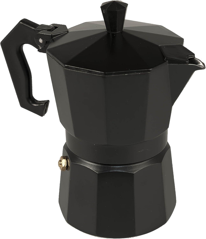 Cafetera Aluminio Italiana Black 3 Tazas Negro: Amazon.es: Hogar