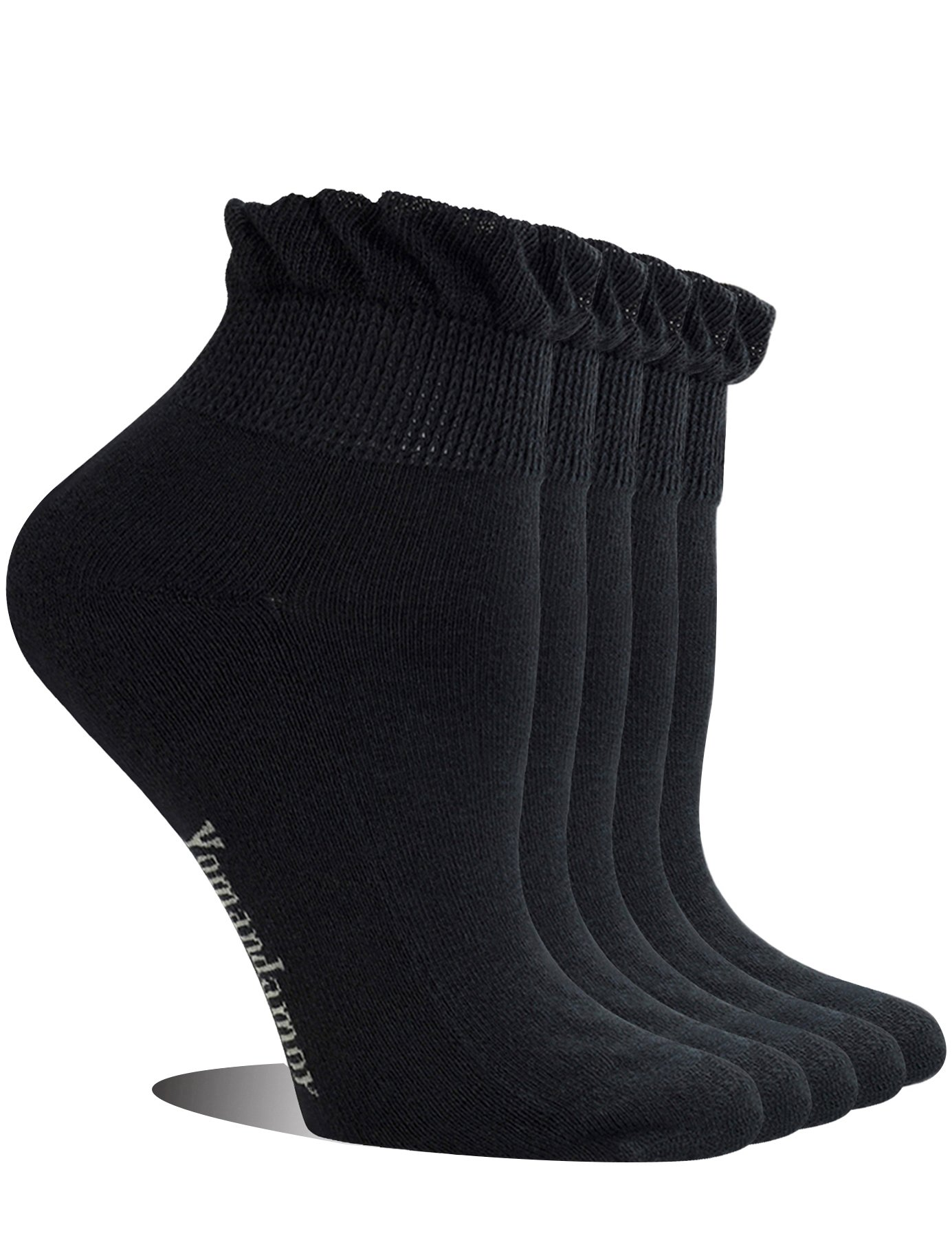 Yomandamor Women's 5 Pairs Non-binding Bamboo Diabetic Ankle Dress/Casual Socks with Seamless Toe