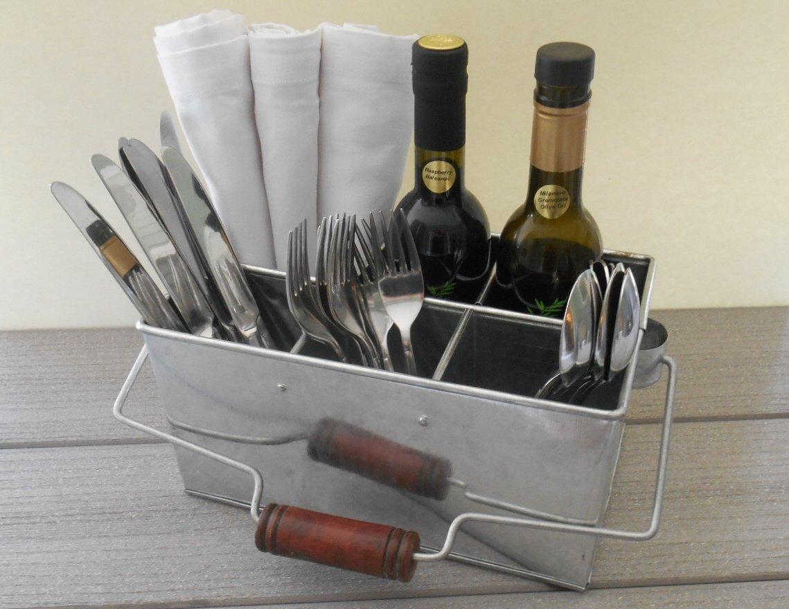 amazon com shabby chic galvanized utensil caddy and kitchen