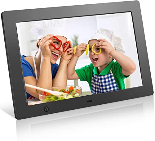 Digital Picture Frame 10.1 in, Digital Photo Frame Video Player with Motion Sensor Electronics Picture Frame High Resolution 1280×800 IPS Background Music Stereo MP3 Calendar Clock Time Remote Control