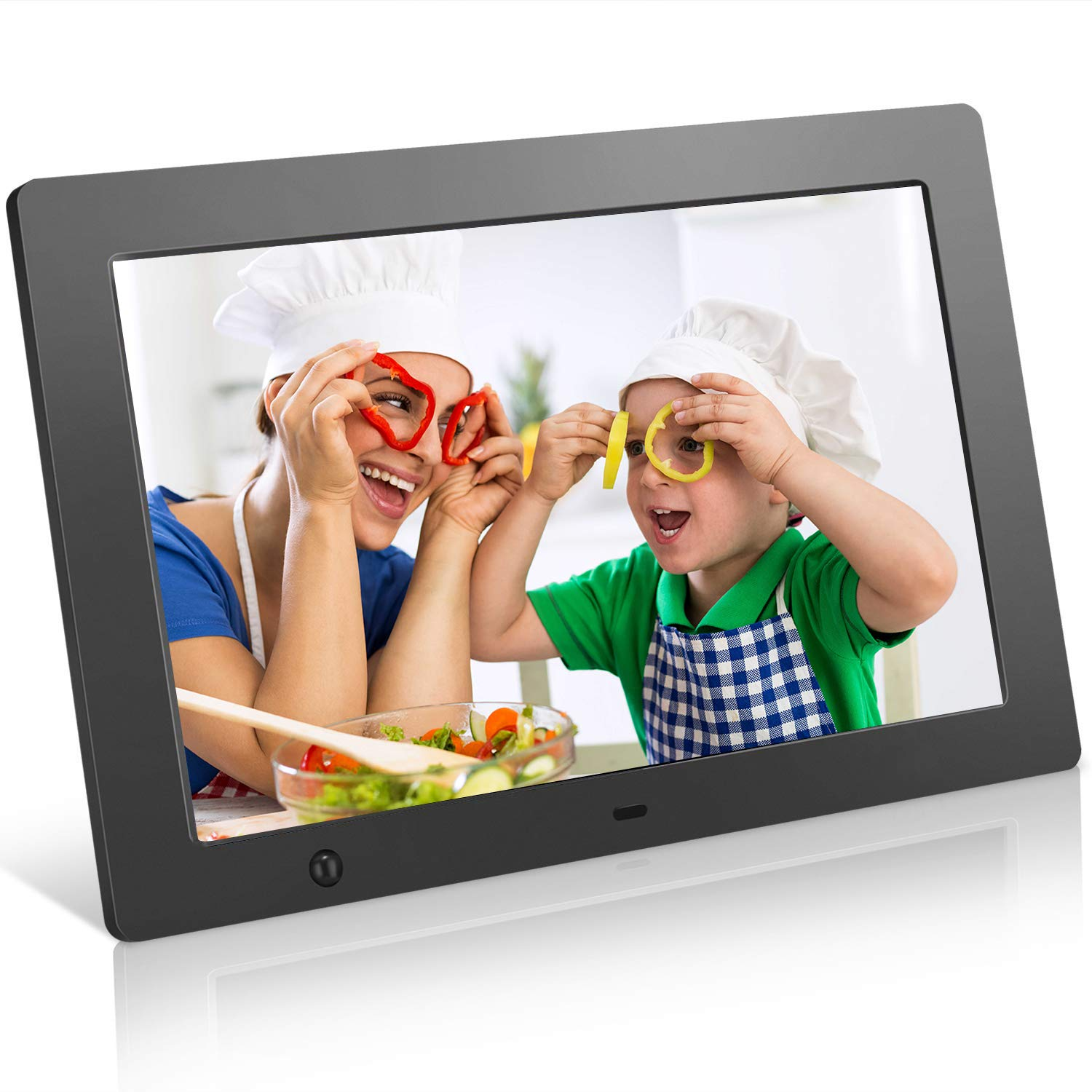 Digital Picture Frame 10.1 in, Digital Photo Frame Video Player with Motion Sensor Smart Electronics Picture Frame High Resolution 1024x768 IPS LCD/1080P 720P /Stereo/MP3/Calendar/Time/Remote Control by Quality Life