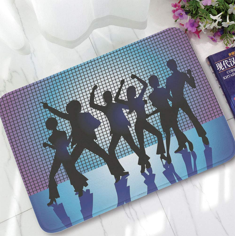 YOLIYANA Bath Mat,70s Party Decorations,for Dining Room Bathroom Office,15.75''x23.62'',Silhouettes of Couples Dancing in Night
