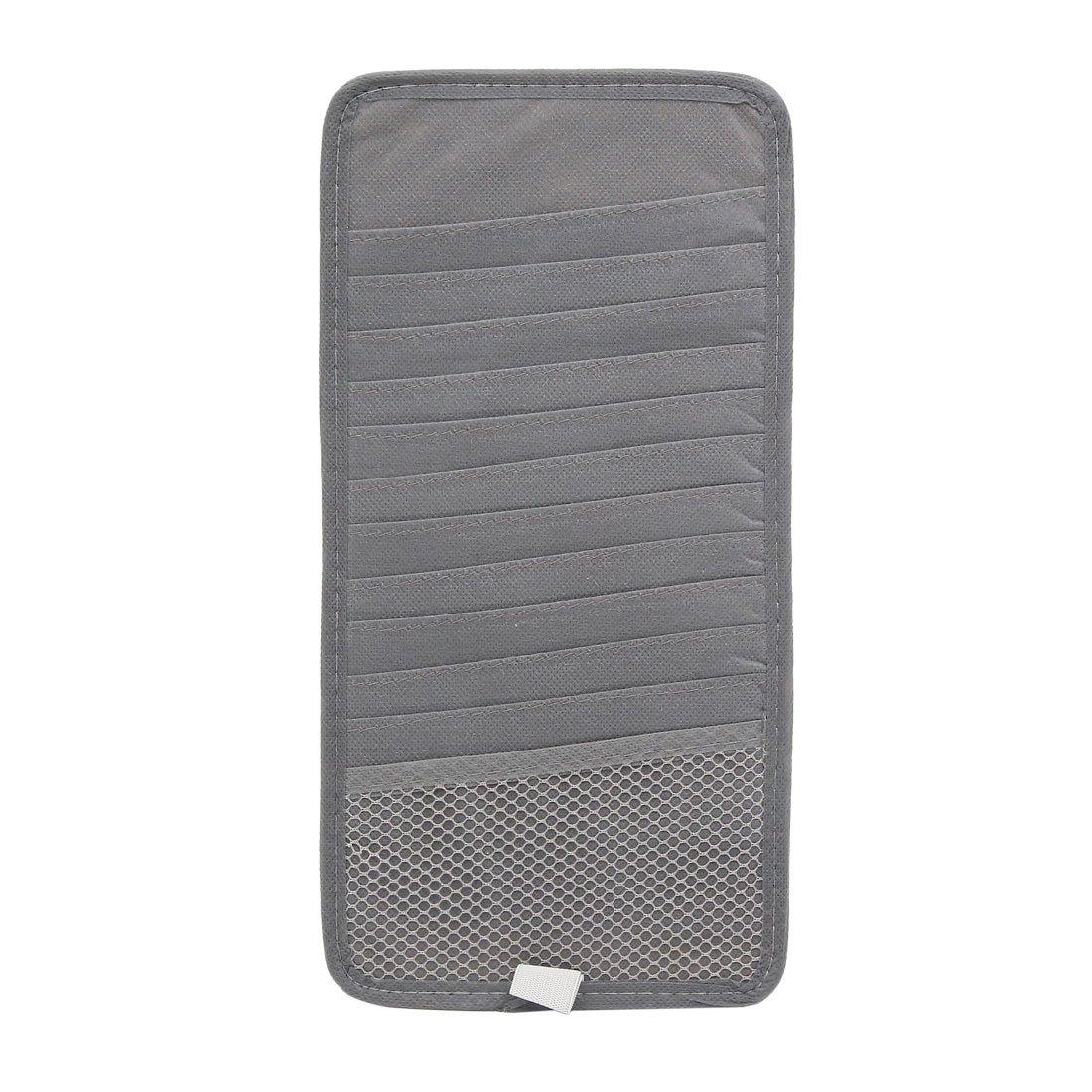 uxcell 2Pcs Gray Car Sun Visor 12 Disc CD DVD Case Wallet Storage Holder Organizer