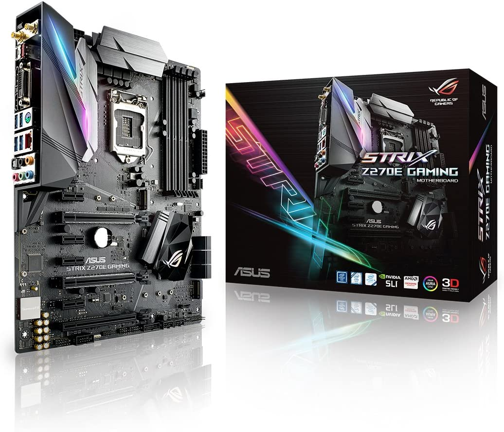 Amazon Com Asus Rog Strix Z270e Gaming Lga1151 Ddr4 Dp Hdmi Dvi M 2 Atx Motherboard With Onboard Ac Wifi And Usb 3 1 Computers Accessories