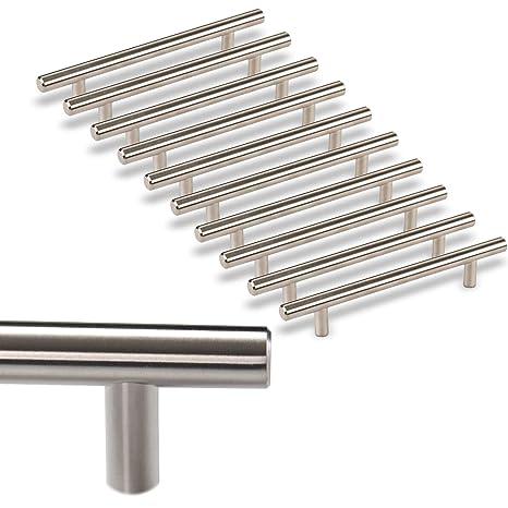 massiv M/öbelgriffe ECHT EDELSTAHL 96 mm BA geb/ürstet B/ügelgriff /Ø 10 mm 10er SET