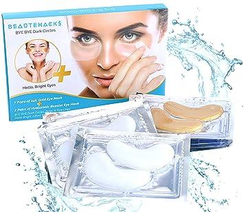 BeauteHacks Under Eye Treatment Kit l 24K Gold Eye Masks + Hyaluronic Acid  & Collagen Anti-Aging