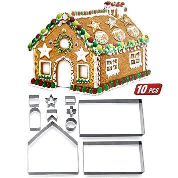 ZOEON Moldes para Galletas de Navidad, 3D Cortador de Galletas de Forma de Casa de Pan de Jengibre: Amazon.es: Hogar