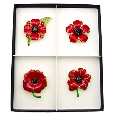 1b009a94c1f NEW BOXED SET OF 4 LARGE RED POPPY BROOCHES CRYSTAL AND ENAMEL METAL PIN  BROOCH JOB LOT with PRESENTATION BOX from UK SELLER: Amazon.co.uk: Jewellery