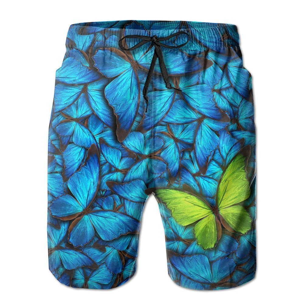 NGFF Beautiful Background with Lot of Different Butterflys Summer Casual Style Adjustable Beach Home Sport Shorts