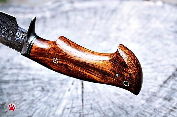 Amazon.com: Cuchillo de caza hecho a mano, cuchillo de acero ...