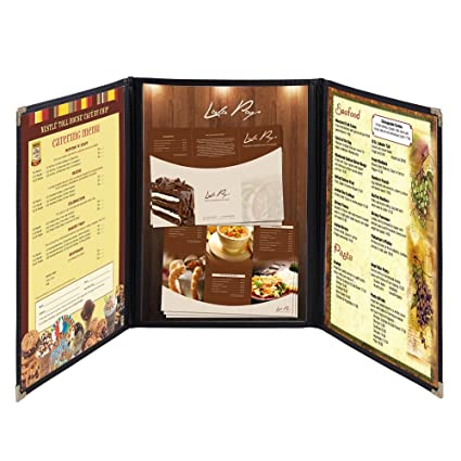 yescom 30 pack triple fold menu covers 85x14 protective double stitch view black