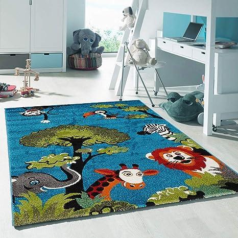UN AMOUR DE TAPIS - Tapis enfant 407 - tapis petite chambre enfant kids  safari - bleu - 60 x 110 cm