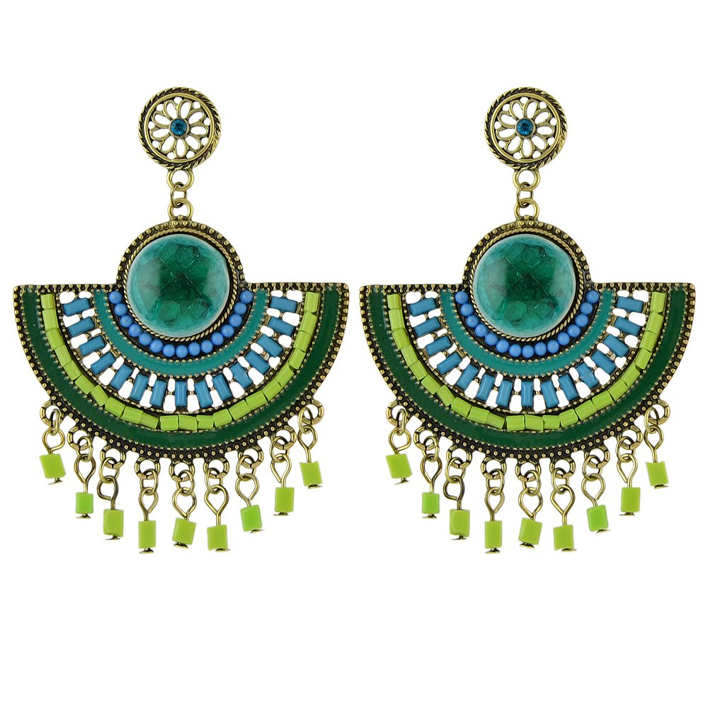 Feelontop® Vintage Fashion Chandelier Style Imitation Gemstone Beads Fan Shape Dangle Earrings for Women with Jewelry Pouch ER-5736-Green