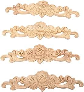 LIOOBO Aplique de Onlay Tallado en Madera Aplique de Flor Rosa sin Pintar para Bricolaje Puerta Artesanal Decoraci/ón de Muebles para El Hogar 20X11 Cm