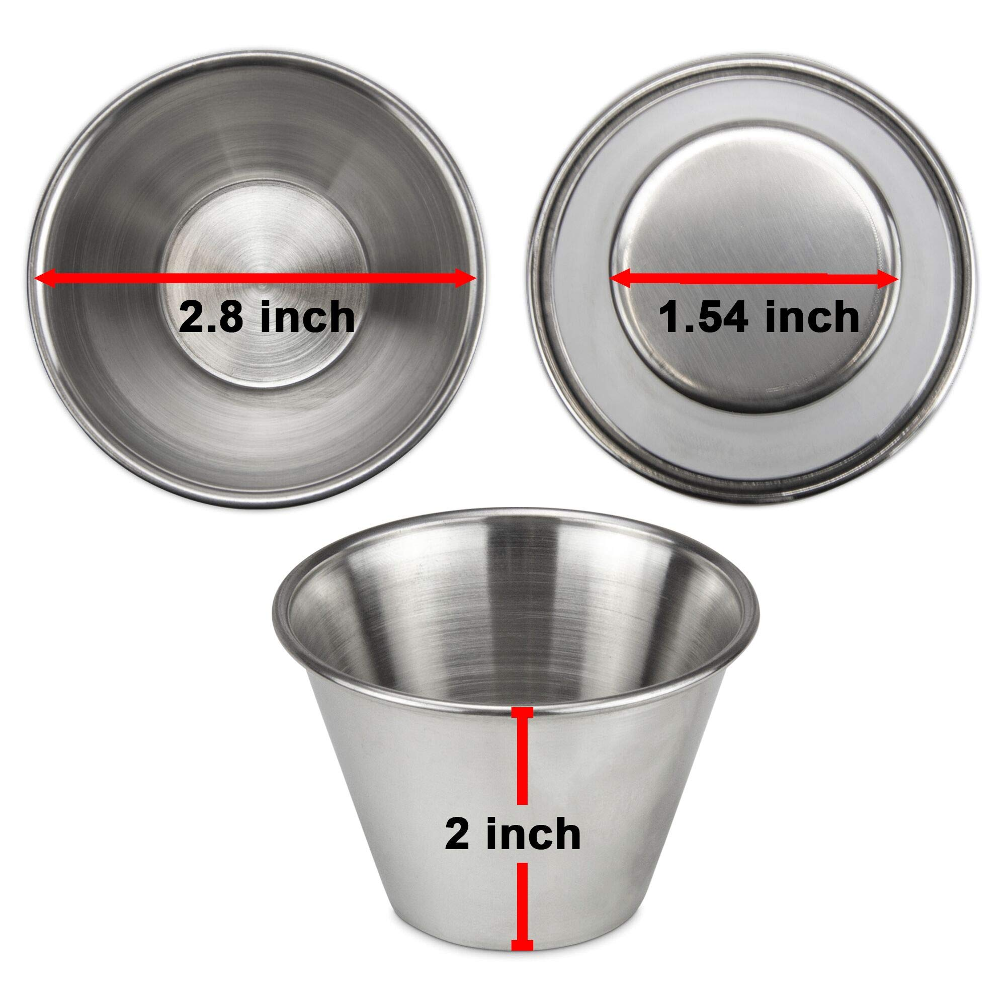 [24 Pack] 4 oz Stainless Steel Sauce Cups - Individual Round Condiments Ramekins, Commercial Grade Safe/Portion Dipping Sauce Kitchen Set by Fit Meal Prep (Image #4)
