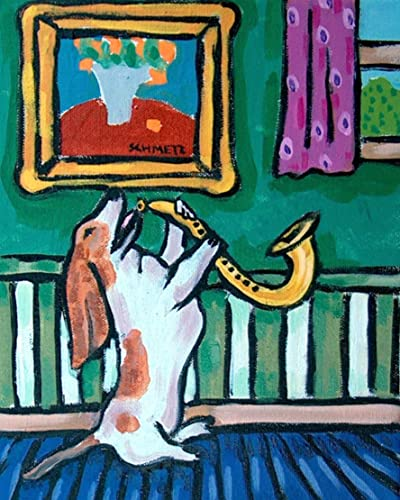 DACHSHUND saxophone  DOG art PRINT 8x10 photo JSCHMETZ