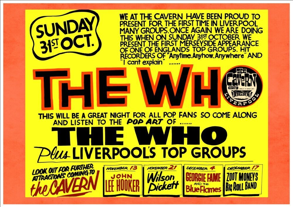 LIVERPOOL A4 Glossy Vintage Concert Poster Art Print THE WHO AT THE CAVERN CLUB