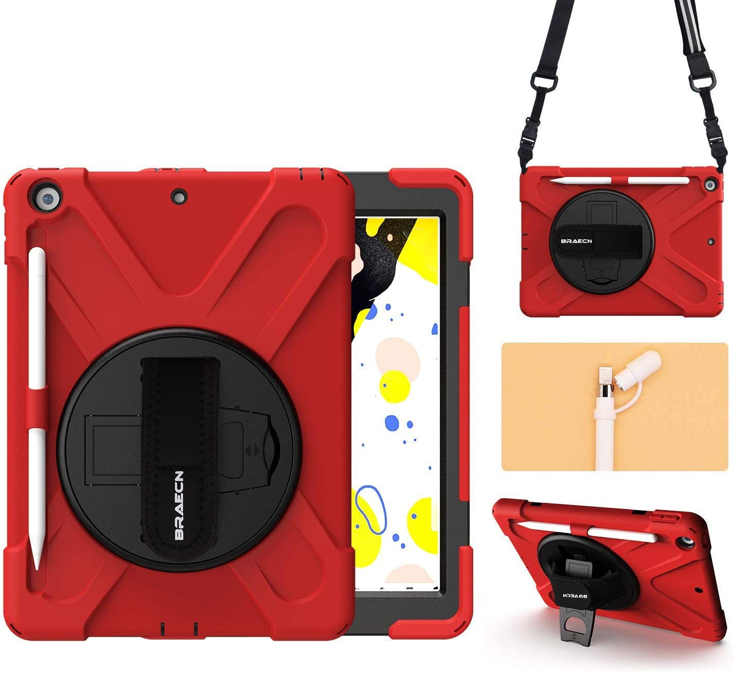 "BRAECN Case for iPad 8th/7th Generation 10.2"" 2020/2019, with [Pencil Holder][Pencil Cap Holder][Storage Pouch][Hand Strap][Carrying Strap][Kickstand] Rugged Heavy Duty Cover for 10.2 inch iPad -Red"