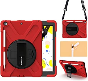"""BRAECN Case for iPad 8th/7th Generation 10.2"""" 2020/2019, with [Pencil Holder][Pencil Cap Holder][Storage Pouch][Hand Strap][Carrying Strap][Kickstand] Rugged Heavy Duty Cover for 10.2 inch iPad -Red"""