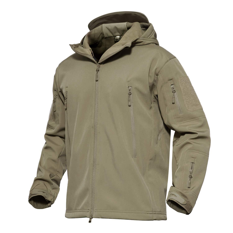 MAGCOMSEN Waterproof Jacket Mens Tactical Jacket Military Jacket Hunting Ski Jacket Camping Mountain Jacket Rain Jacket Khaki by MAGCOMSEN