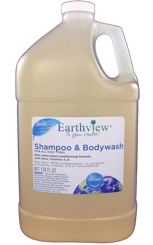 Earthview Shampoo/Bodywash, Fragrance Free Shampoo, 128 oz Gallon Refill, All Hair Types- Designed for Environmental Sensitivities (MCS, EI, MI)